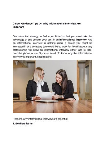 Career Guidance Tips On Why Informational Interview Are Important by