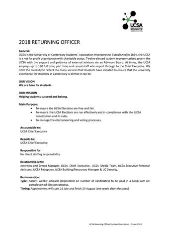 2018 returning officer job description by UCSA - issuu