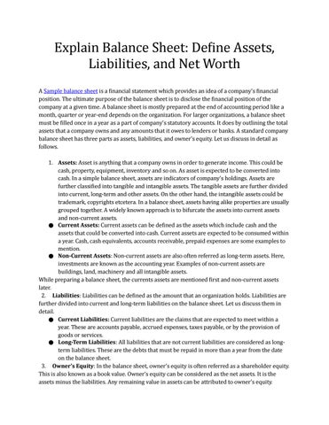 Explain Balance Sheet Define Assets, Liabilities, and Net Worth by
