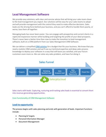 Lead to closer management software by Retail365 Cloud - issuu