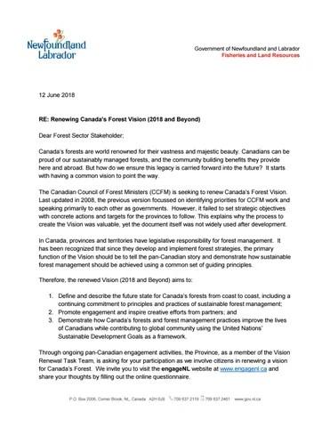 Ccfm vision engagement letter 2018 by Newfoundland and Labrador