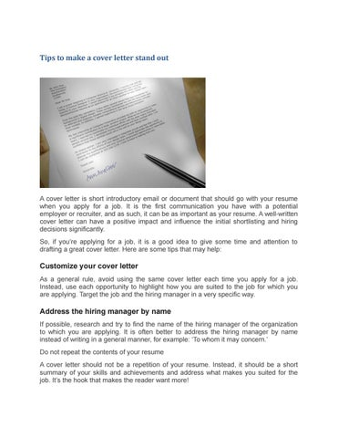 Tips to make a cover letter stand out by englishhelper8 - issuu