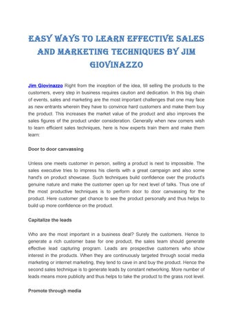 Easy ways to learn effective sales and marketing techniques by jim