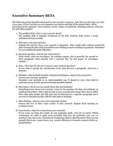 Executive Summary BETA by FAECTOR - issuu