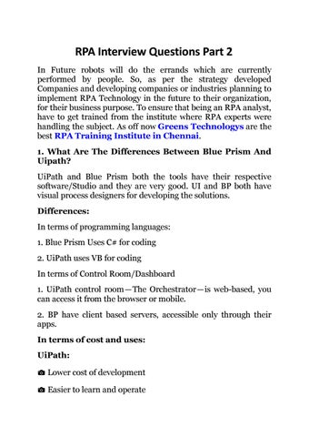 RPA Interview Questions Part 2 by Apsara - issuu