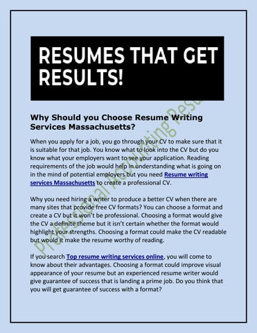 Why Should you Choose Resume Writing Services Massachusetts? by
