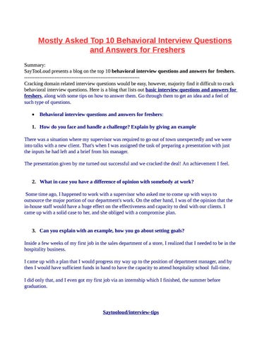Mostly Asked Top 5 Behavioral Interview Questions and Answers for