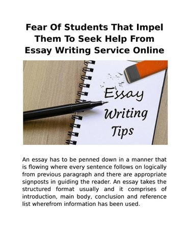 Fear Of Students That Impel Them To Seek Help From Essay Writing