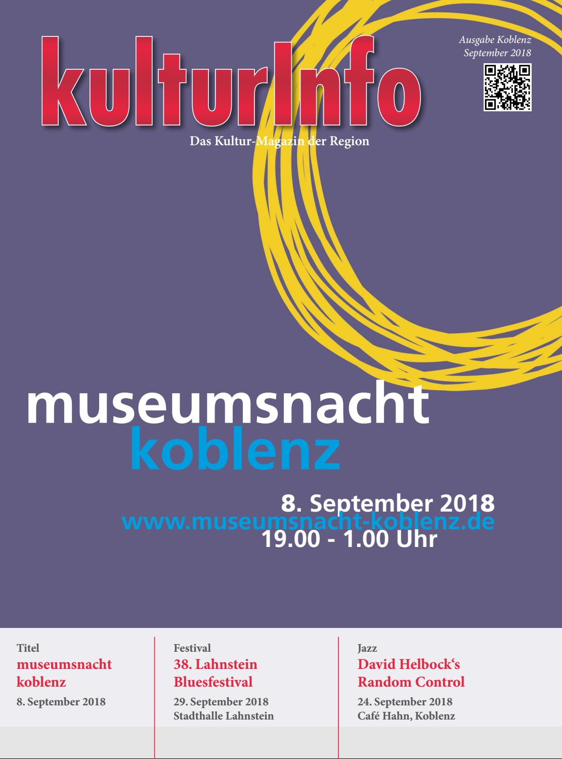 Kulturinfo September 2018 By Kulturverlag Koblenz Issuu