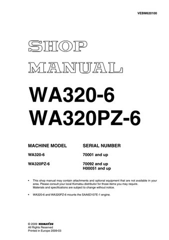 Komatsu WA320-6 Wheel Loader Service Repair Manual SN:70001 and up