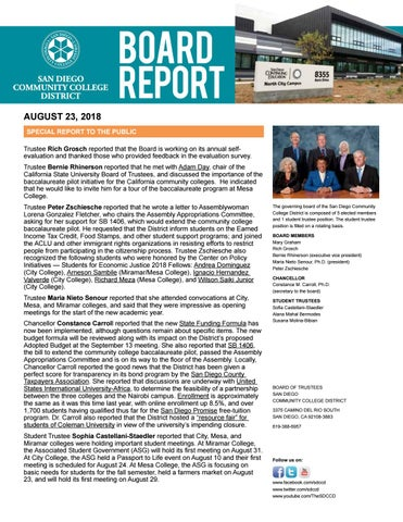 Board Report (Aug 23, 2018) by San Diego Community College District