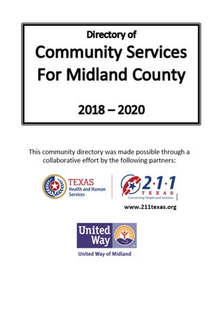 2018-2020 Directory of Community Services For Midland County by - community service directory