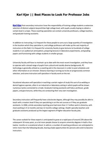 Karl Kjer Best Places to Look For Professor Jobs by Karl Kjer - issuu