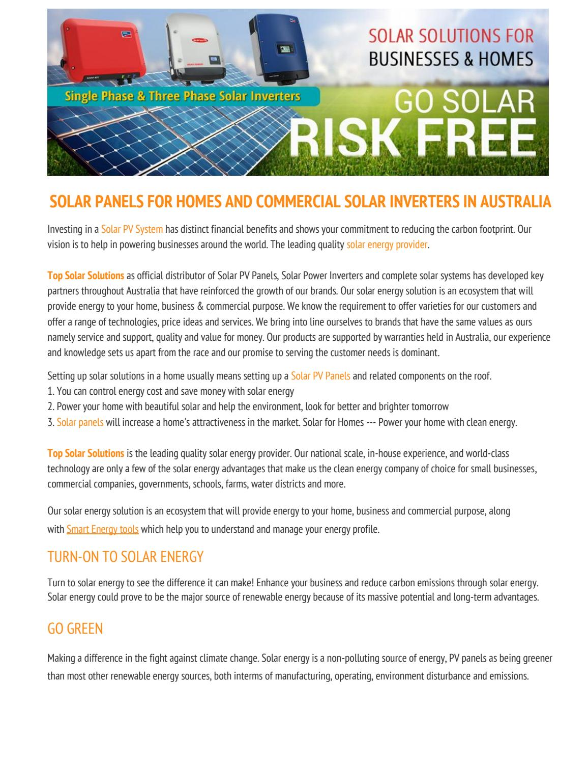 Home To Go Australia Solar Panels For Homes And Commercial Solar Inverters In Australia