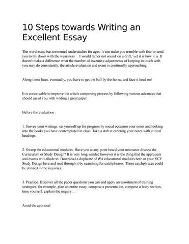 10 Steps towards Writing an Excellent Essay by elenasmith - issuu