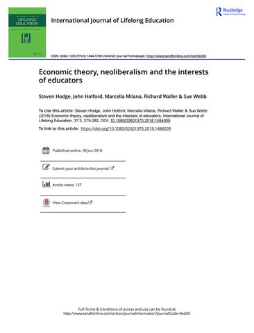 economic theory, neoliberalism and the interests of educators by