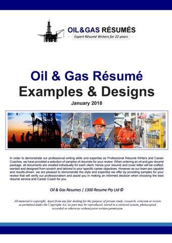 2018 Oil and Gas Resume Samples by 1300 RESUME - issuu - fixed base operator sample resume