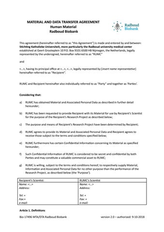 Biobank material and data transfer agreement by Radboudumc - issuu