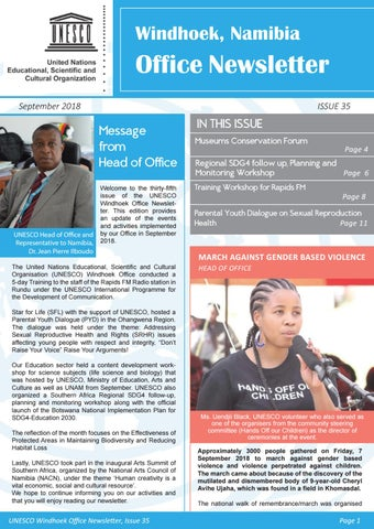 UNESCO Windhoek Office Newsletter- Issue 35 by Caroline Nkuziwalela