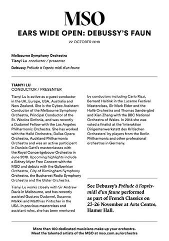 Ears Wide Open Debussy Concert Program by Melbourne Symphony