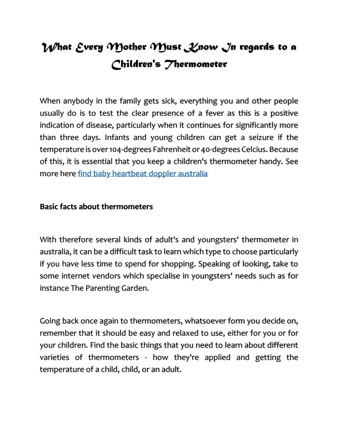 Thermometer Australia What Every Mother Must Know In Regards To A Children S Thermometer