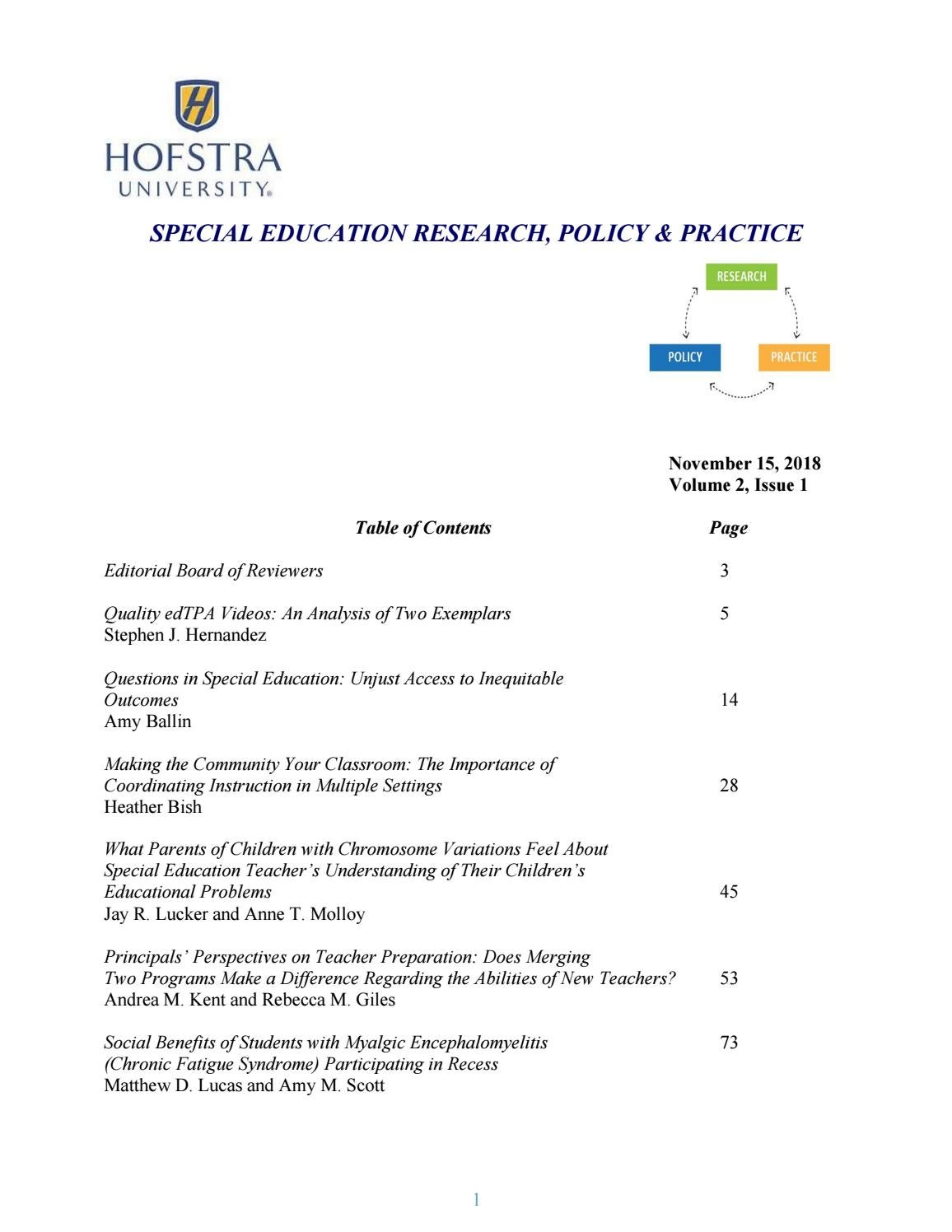Special Education Research Policy Practice 2018 By Hofstra University Issuu