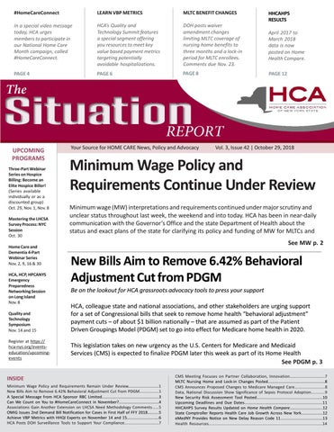 October 29, 2018 Edition of The Situation Report by Home Care