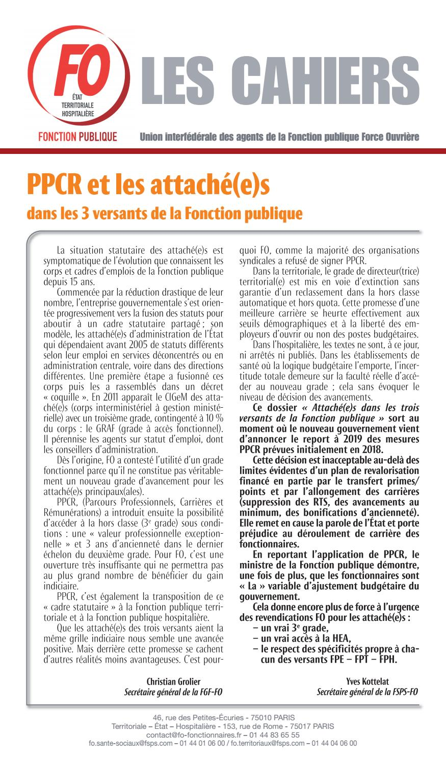 Grille Attaché Territorial Les Cahiers Ppcr Et Les Attaches By Bacon Issuu