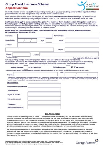 Group Travel Application Form by West Midlands Fire Service Sports