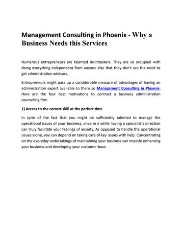 Management Consulting in Phoenix - Why a Business Needs this