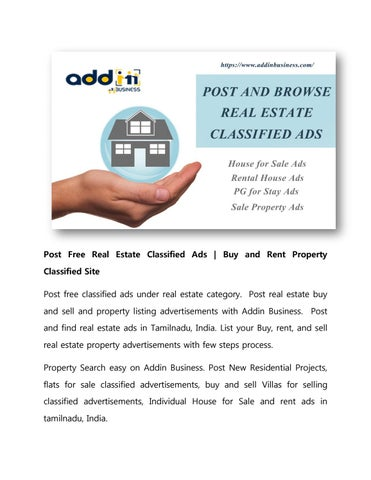 Post Free Real Estate Classified Ads Buy and Rent Property