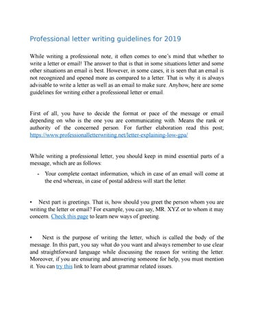 Professional letter writing guidelines for 2019 by Professional