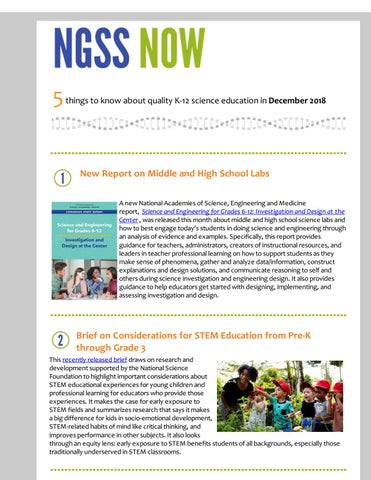December 2018 NGSS Now Newsletter by Achieve, Inc - issuu