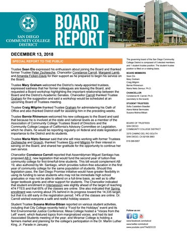Board Report - December 13, 2018 by San Diego Community College