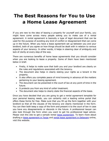 The Best Reasons for You to Use a Home Lease Agreement by Carl
