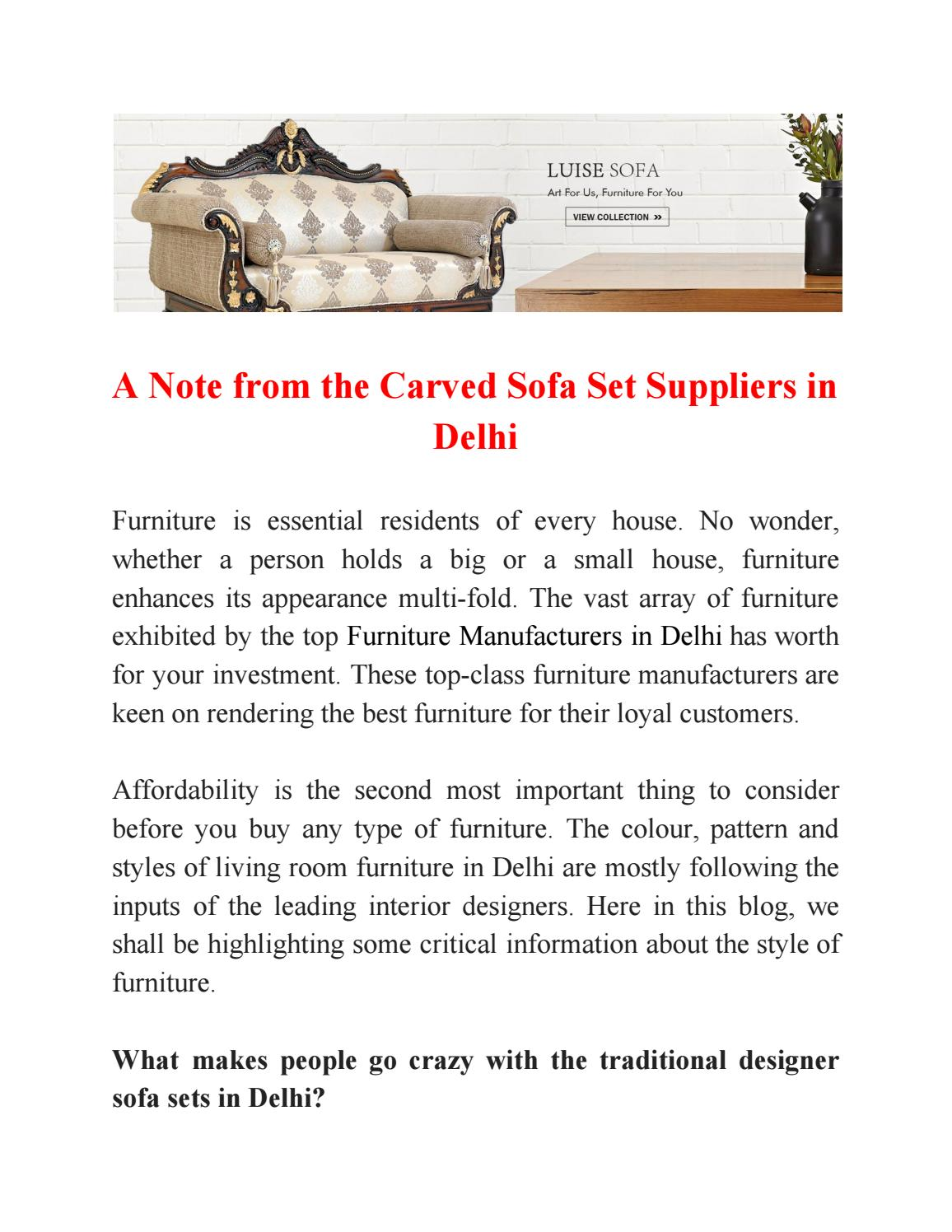 Sofa House Kirti Nagar A Note From The Carved Sofa Set Suppliers In Delhi By