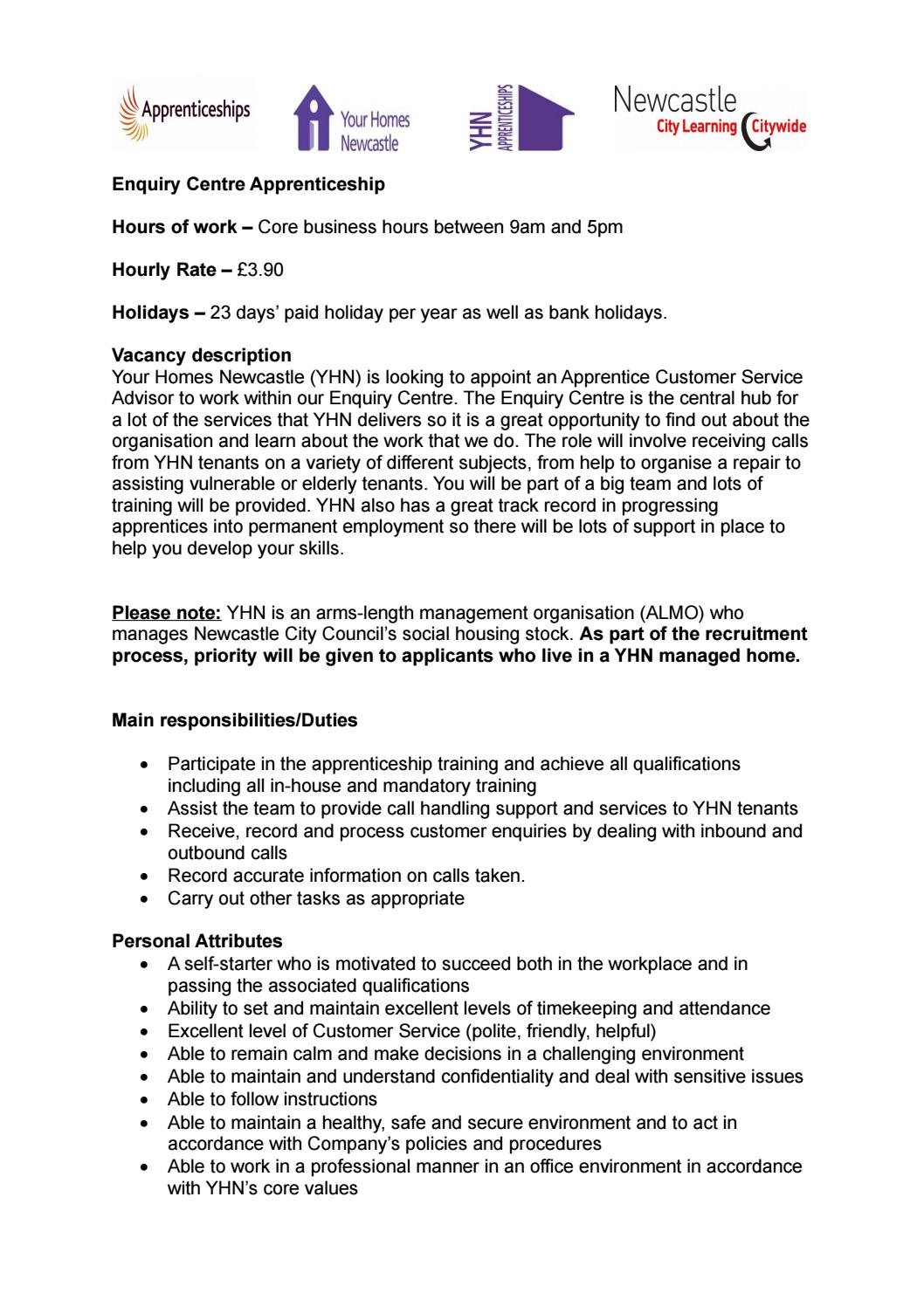 Apprenticeship Job Yhn Enquiry Centre Apprenticeship Job Description By Your Homes