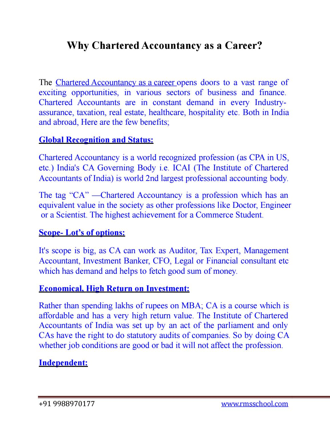 Chartered Accountant Cpa Why Chartered Accountancy As A Career By Rmsinstitute34 Issuu