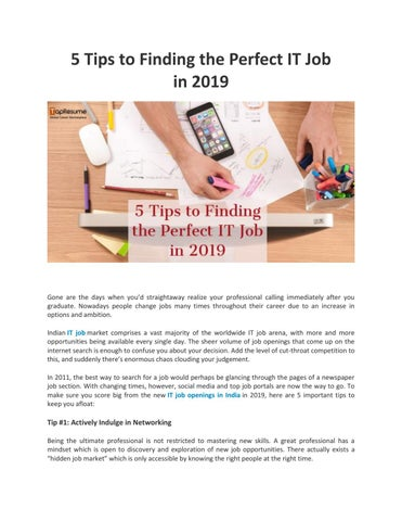 5 Tips to Finding the Perfect IT Job in 2019 by digitalmounika123