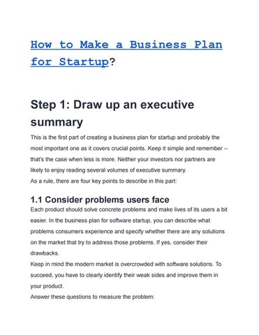 How to Make a Business Plan for Startup by Yulia Ye - issuu