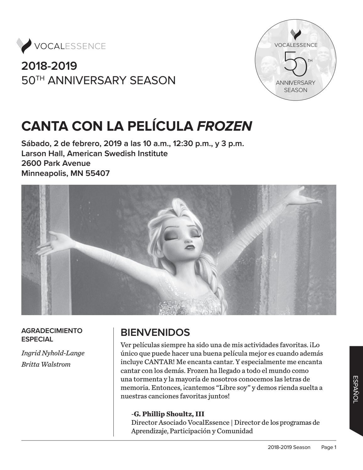 Frozen Cancion Español Libre Soy Frozen Movie Sing Along Program Spanish By Vocalessence