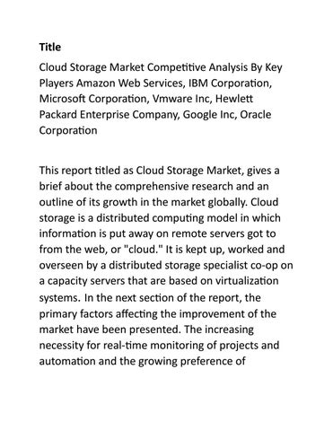 Cloud Storage Market Competitive Analysis By Key Players by Kiran