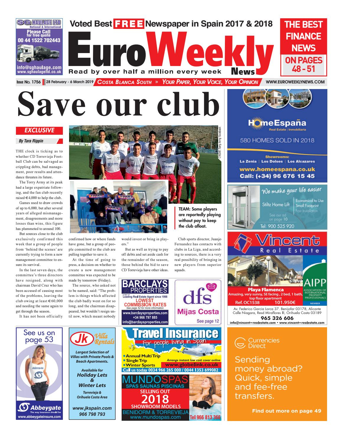 43 Libras En Euros Euro Weekly News Costa Blanca South 28 February 6 March 2019