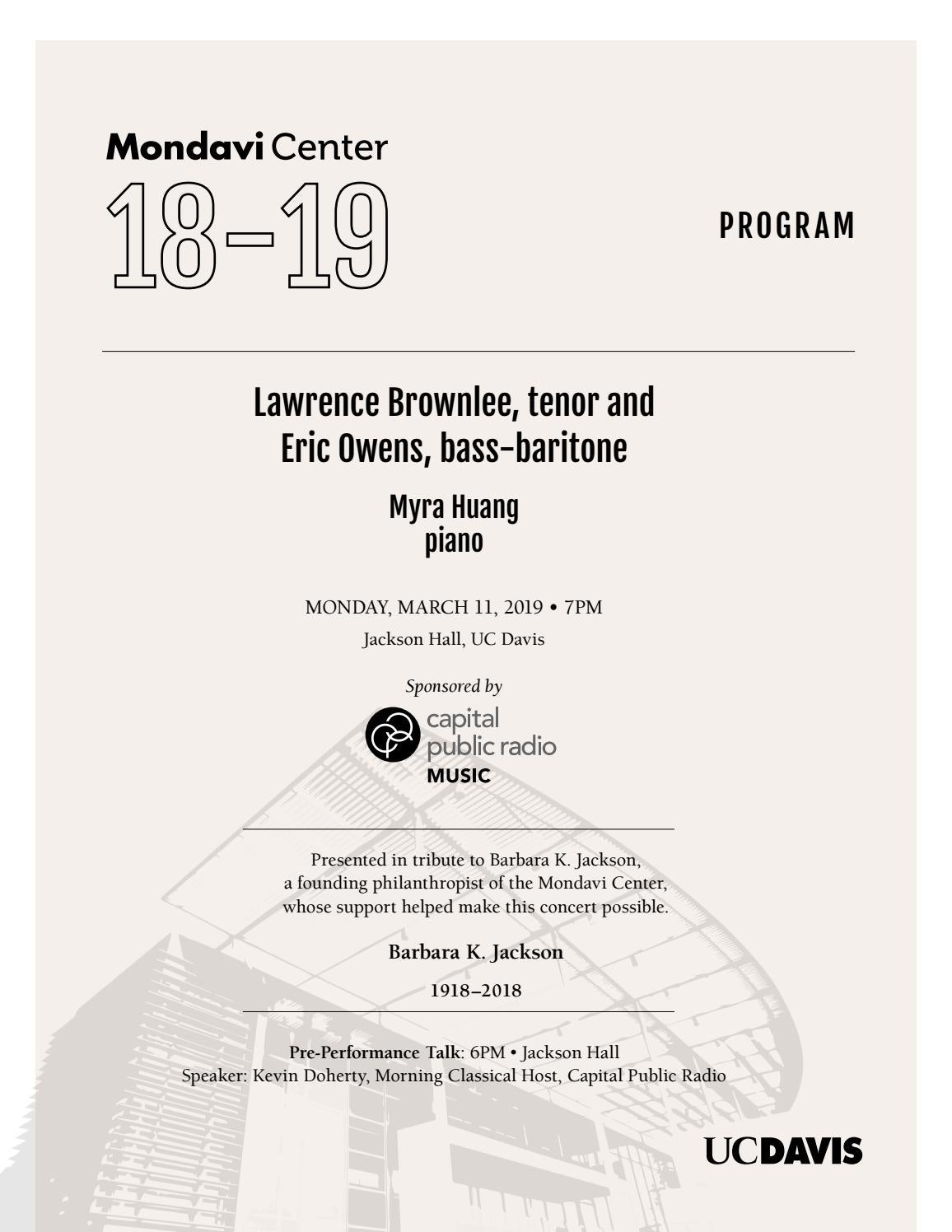 Arte Concert Hurricane 2018 Lawrence Brownlee Tenor And Eric Owens Bass Baritone Program By
