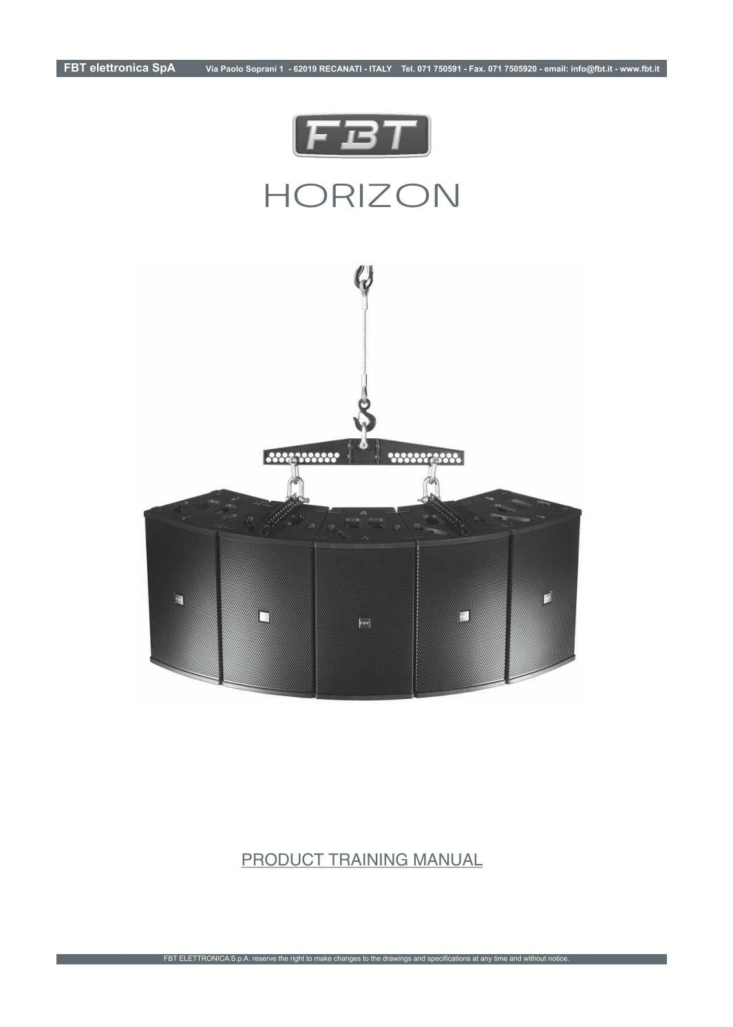 Elettronica Spa Fbt Horizon Product Training Manual By Fbt Elettronica S P A Issuu