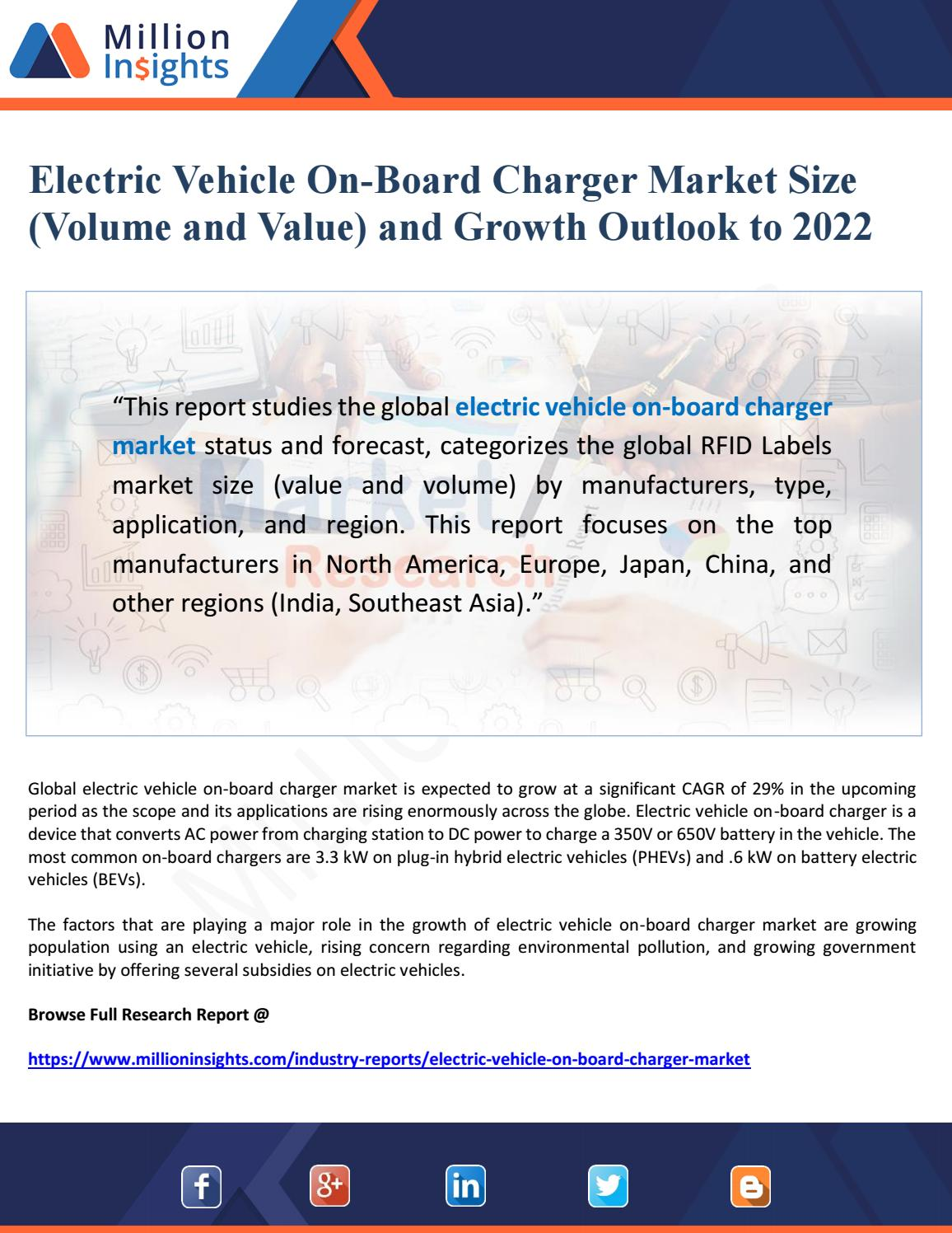 Electric Vehicle Manufacturers North America Electric Vehicle On Board Charger Market Size Volume And