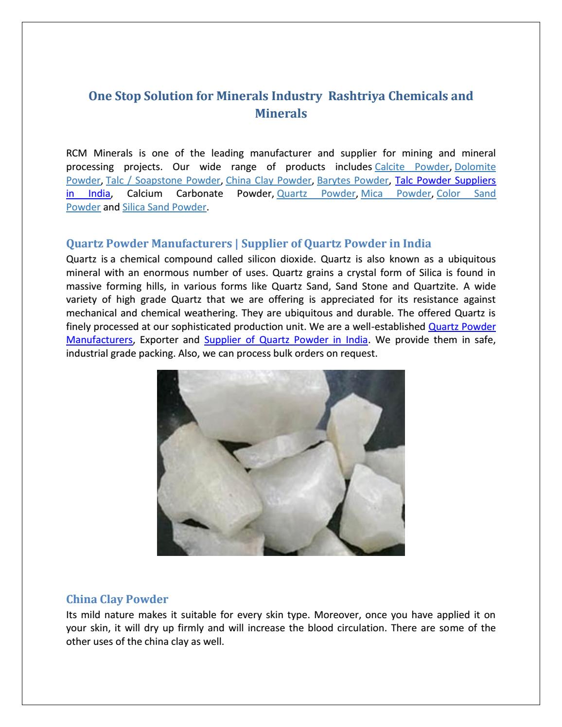 China Clay Suppliers One Stop Solution For Minerals Industry Rcm Minerals By