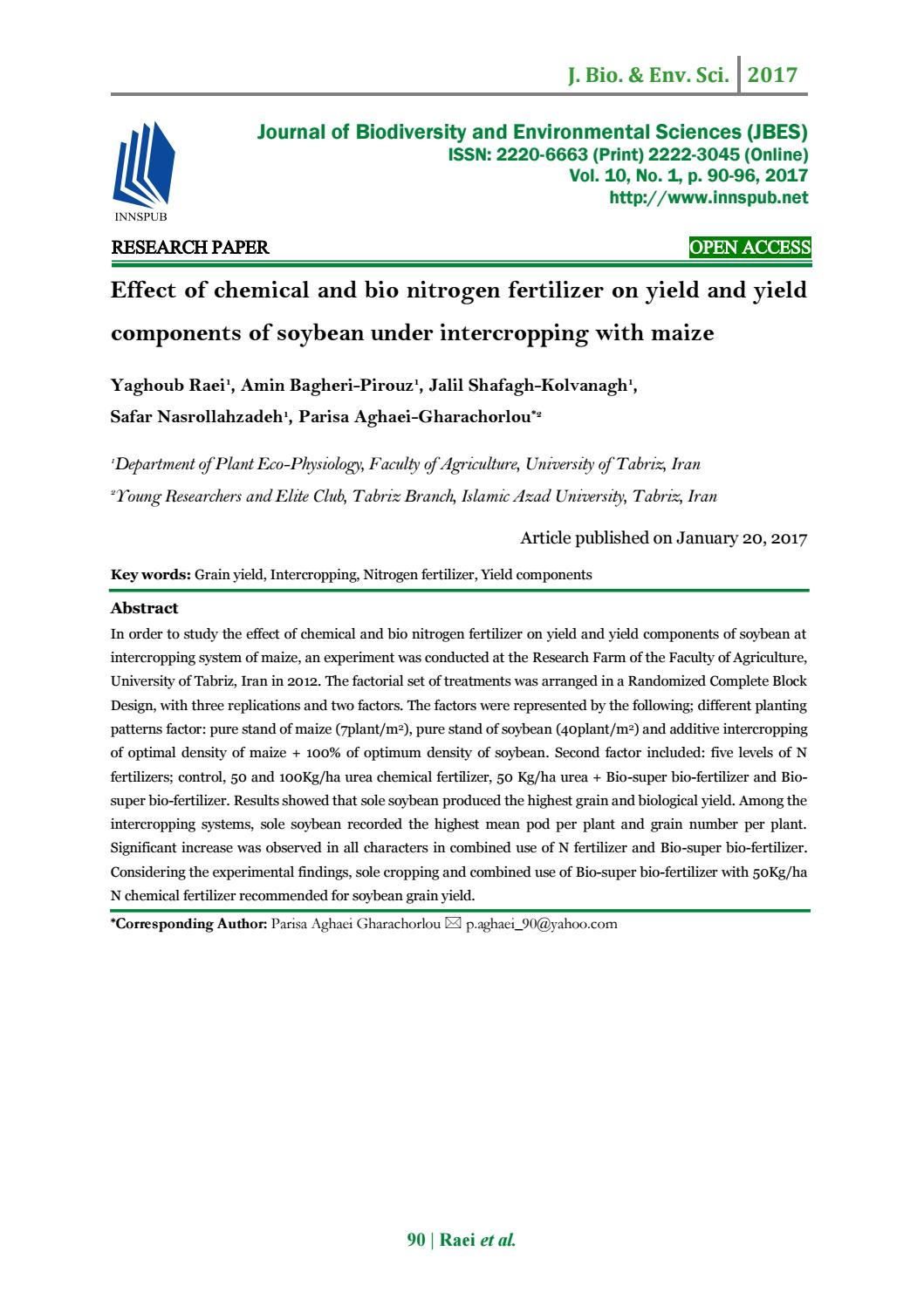 Grain Bio Effect Of Chemical And Bio Nitrogen Fertilizer On Yield And Yield