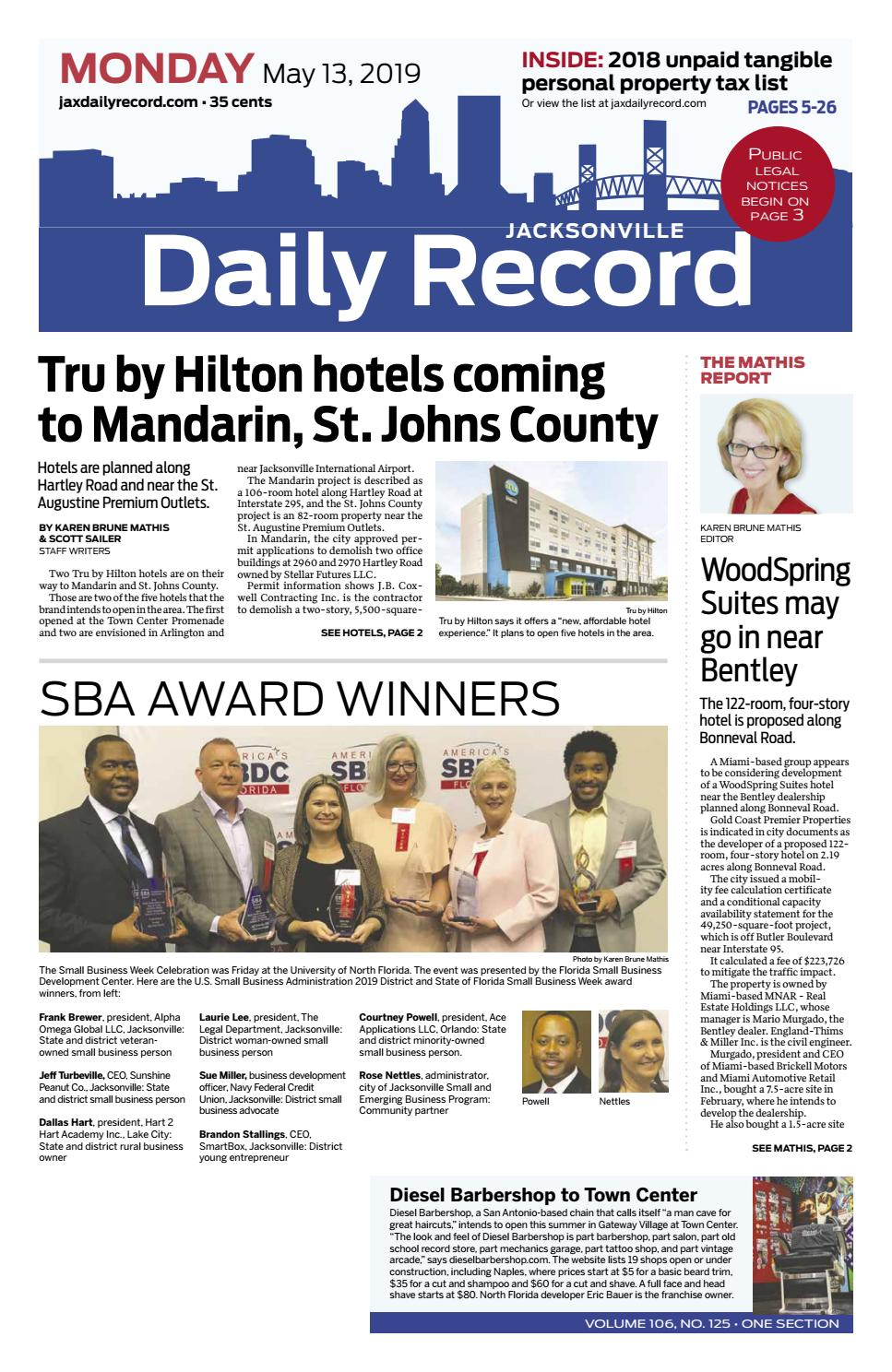 Hotel Caminetto Smartbox Jacksonville Daily Record 5 13 19 By Daily Record Observer Llc