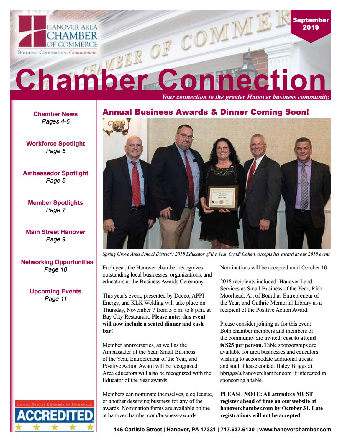 La Cucina Restaurant Hanover Pa September 2019 Chamber Connection Newsletter By Hanover Area